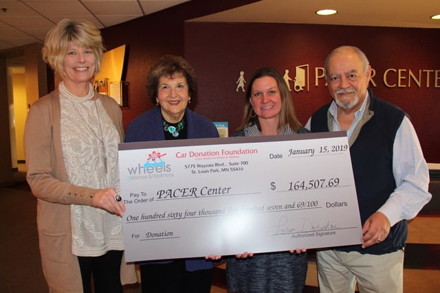 Car Donation Foundation Check To PACER Center