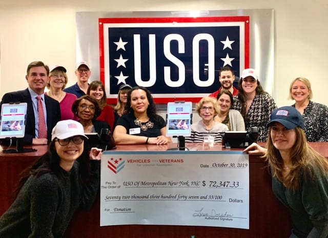 USO of Metropolitan New York Check From Vehicles For Veterans